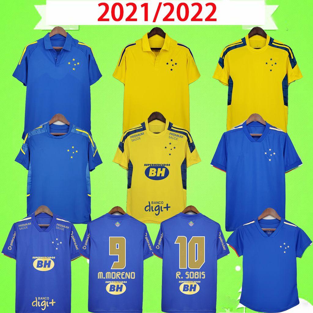 Camisa Cruzeiro 2021 Centenary Soccer Jerseys Blue 100th Anniversary 2022 Dede Léo M. Moreno Pottker Manoel 100 Anos Training Suit Men Kit Camicie da calcio 22 Donne