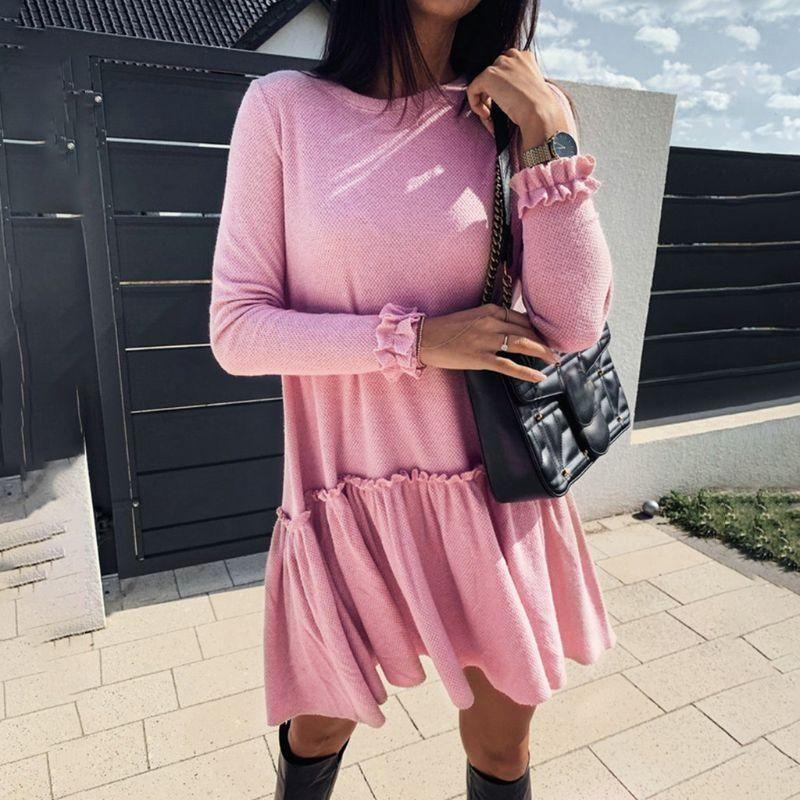 Womens outono inverno manga comprida plissada balanço vestido redondo pescoço Ruffles cor sólida cor pulôver casual solto streetwear vestidos