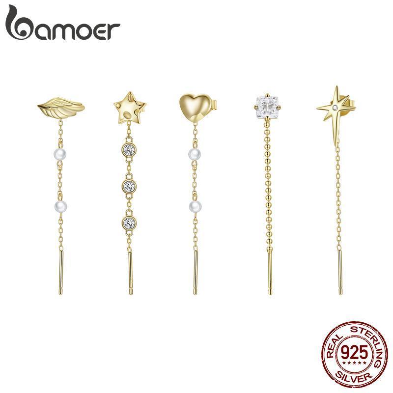 Bamoer 1 stück kostenlos Mix Ohrringe für Frauen 925 Sterling Silber Bolzen Schmuck mit Kettenohr mit Goldfarbe SCE1089