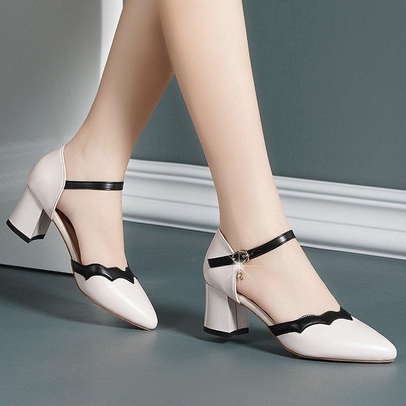 Zapatos de vestir sandalia de tacón alto para mujeres 2021 de verano espadrilles plataforma traje hembra beige todo coincidencia de tacón alto exterior cerrado COM