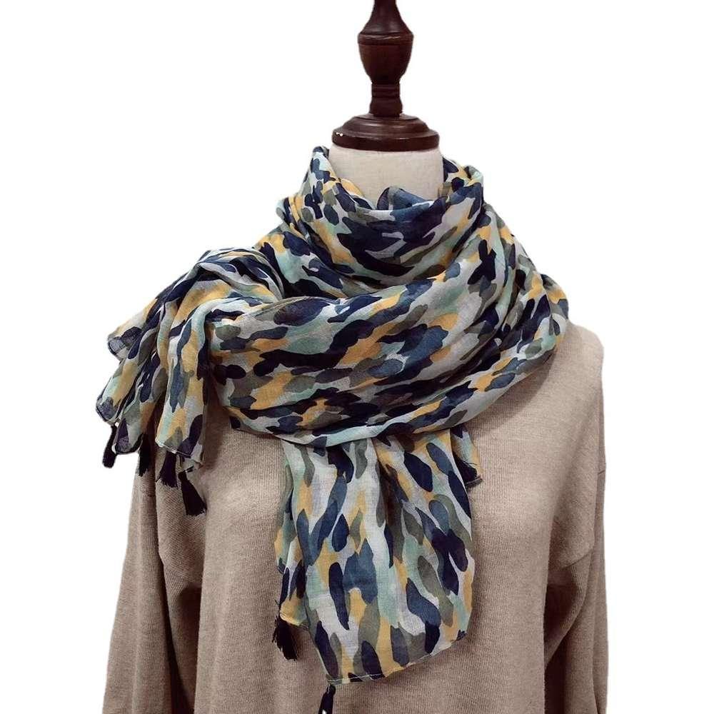 Camuflagem Impressão Fringes Scarf Solcreen Shawl Longo Algodão Cânhamo Beach Towel Silk Scarf Headdress das Mulheres