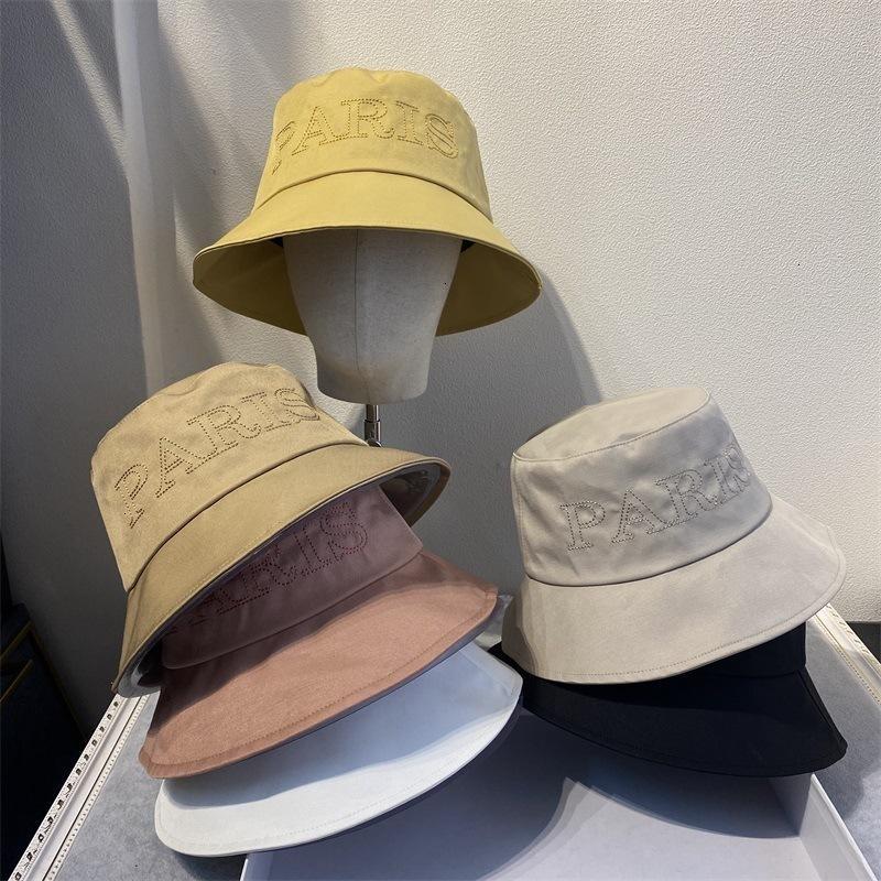 02co carta Bordado Versión coreana de pescadores Simple Color Casual Color Primaria Pequeño Brim Sombrero Versátil Versátil