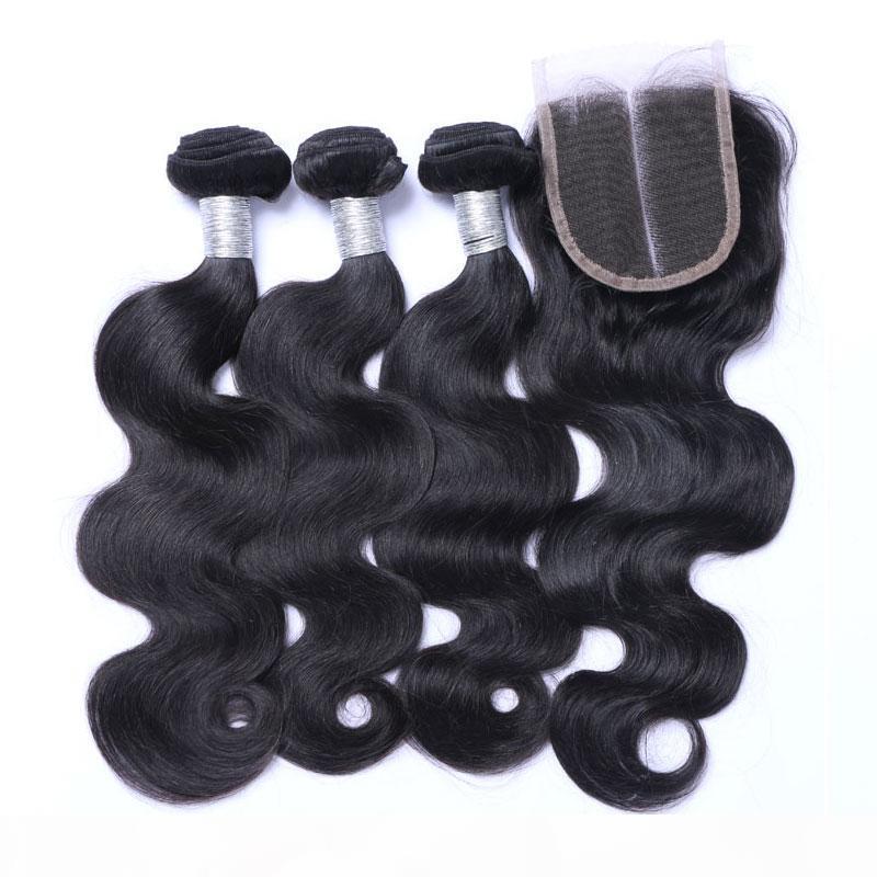 Brésilien Body Wave Virgin Humain Cheveux Tissu 3 Bundles avec fermeture en dentelle 100% cuticule non transformée Aligné Remy Extensions de cheveux Remy Couleur naturelle