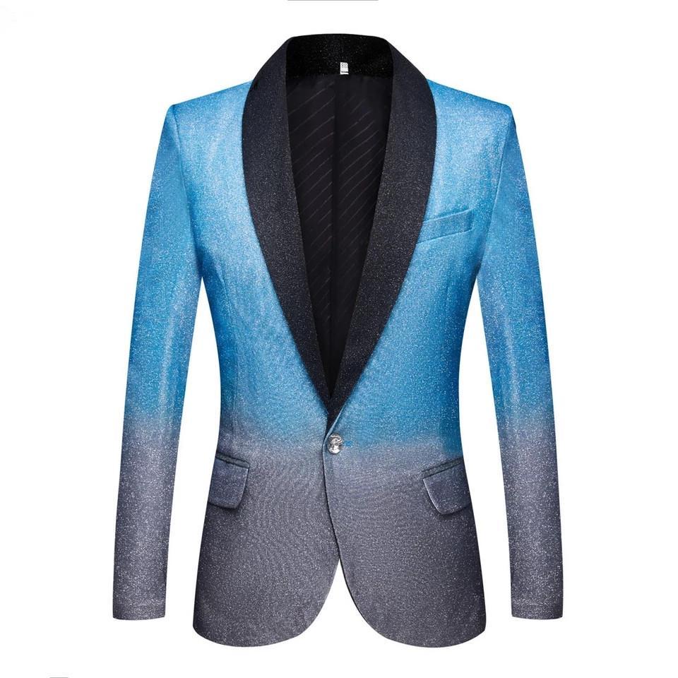 Plus taille gradient gradient couleur casual blazer nocturne club mâle chanteur scène costume costume vestes hôte doré poudre un bouton costume de mariage