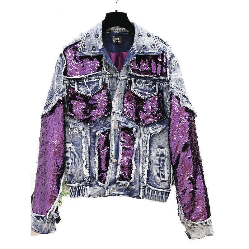 Thick Sequins Spliced Denim Jacket For Women Loose Fashion Harajuku BF Short Jean Coat Unisex Autumn Female jacket 210531