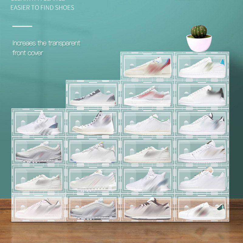 Cassettiera in plastica trasparente per scarpe da scarpe Pieghevole impilabile Cassetti di stoccaggio Display Sovrapposti Scarpe combinate Contenitori Cabinet Box