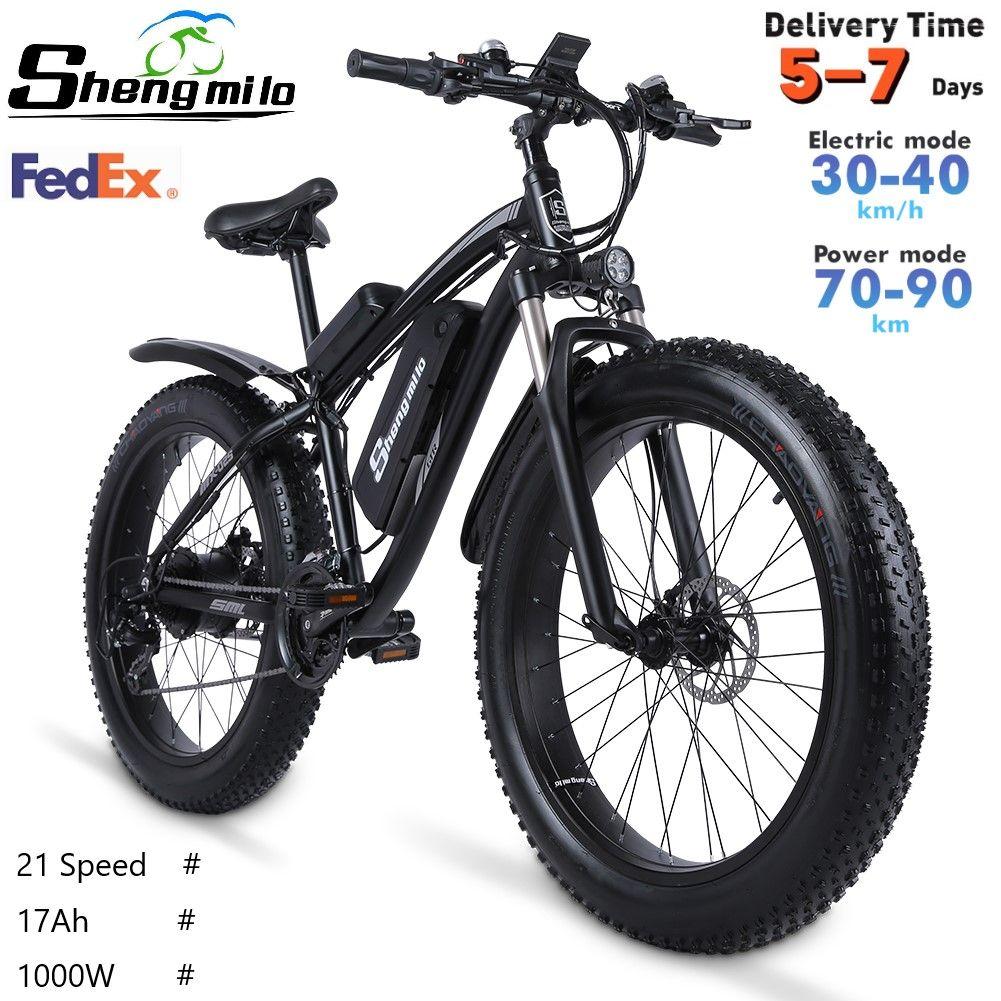 ABD ShengMilo MX02S 1000 W Yetişkin Elektrikli Dağ Bisikleti 17AH 48 V Li-Ion Şehir Yağ Lastik Bisiklet 40 KM / H E-Bike Beach Cruiser