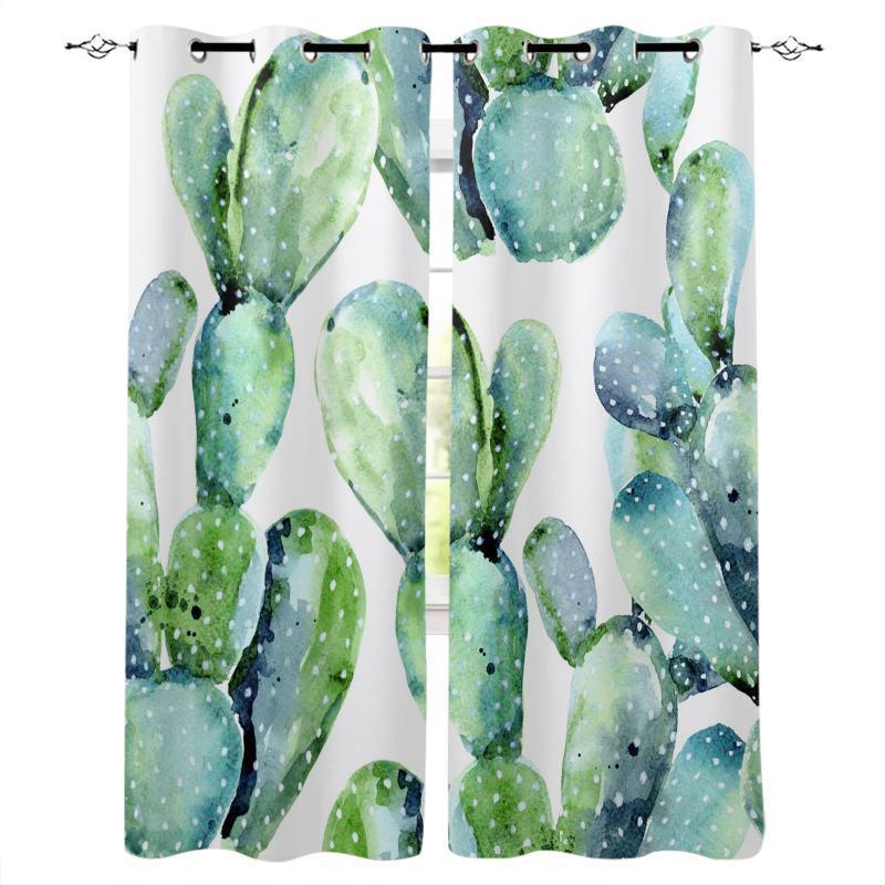 Vorhangvorhänge Grünpflanze Kaktus Aquarell Stil Vorhänge für Kinder Jungen Mädchen Raum Wohnungsfenster Behandlungen