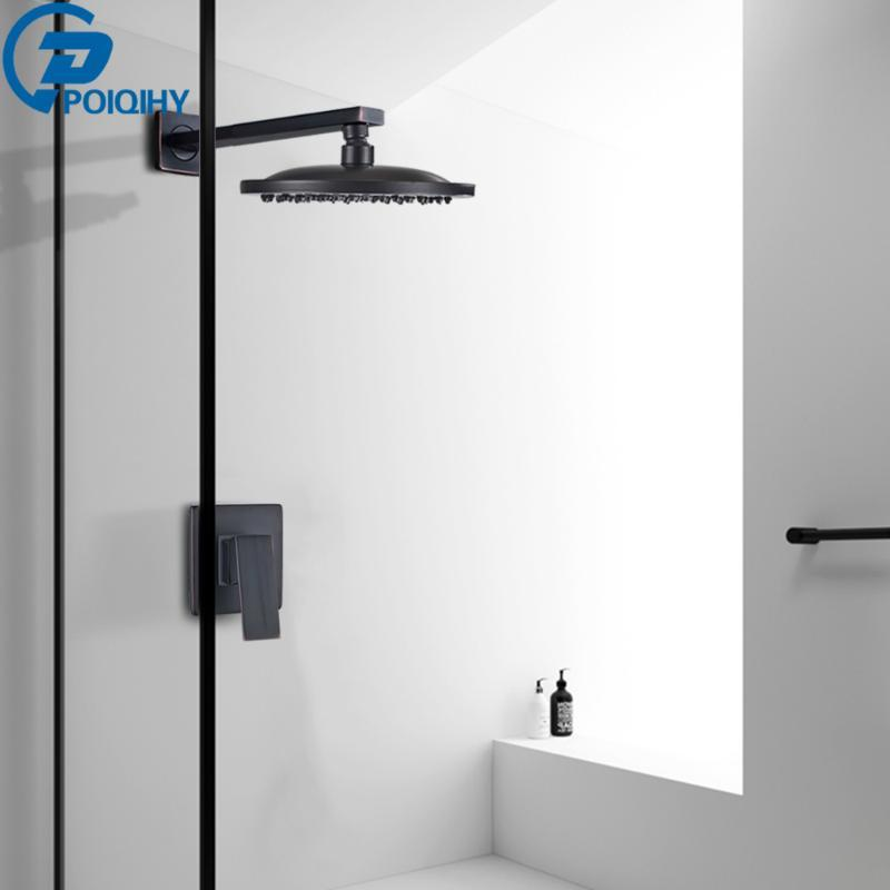 Wall Mounted Bathroom Rainfall Shower Faucet Sets Oil Rubbed Bronze Head Concealed Set Brass Round