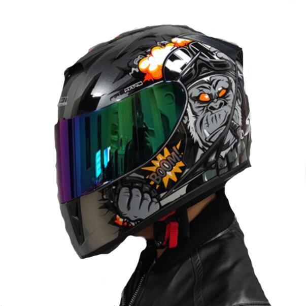 Casque Jiekai Homme Moto Open Face Casque Double Lentille Été Personnalité Anti-Fog Cool Four Saisons