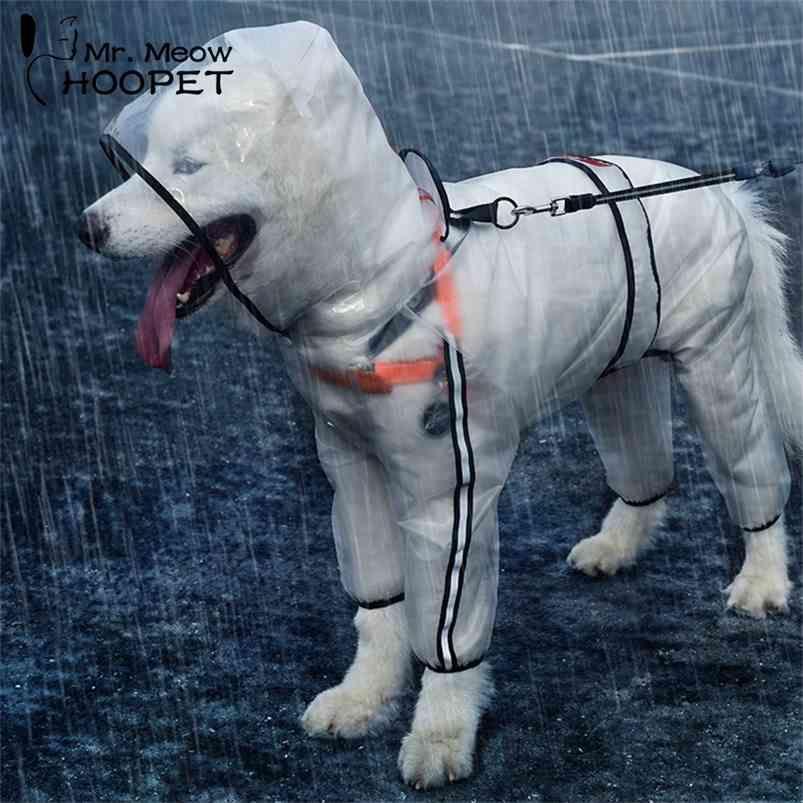 HOOPET GRAND CHIEN Dog Vêtements de chien de chien transparent imperméable imperméable à imperméabiliser petit chien imperméable imperméable 210729