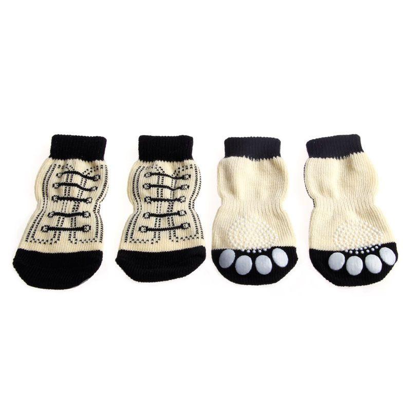 New 4-Pcs Pet Dog Sneakers Shoeshine Pattern Antislip Socks Power Cover Shoes S-XL
