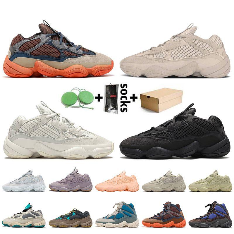 Adidas Yeezy 500 yeezys boost Kutu Kanye West ile 500 Erkek Ayakkabı Yansıtıcı Kemik Beyaz Utility Siyah Yüksek Tyrian Süper Ay Sarı Allık Kadınlar Tasarımcı Sneakers Koşu