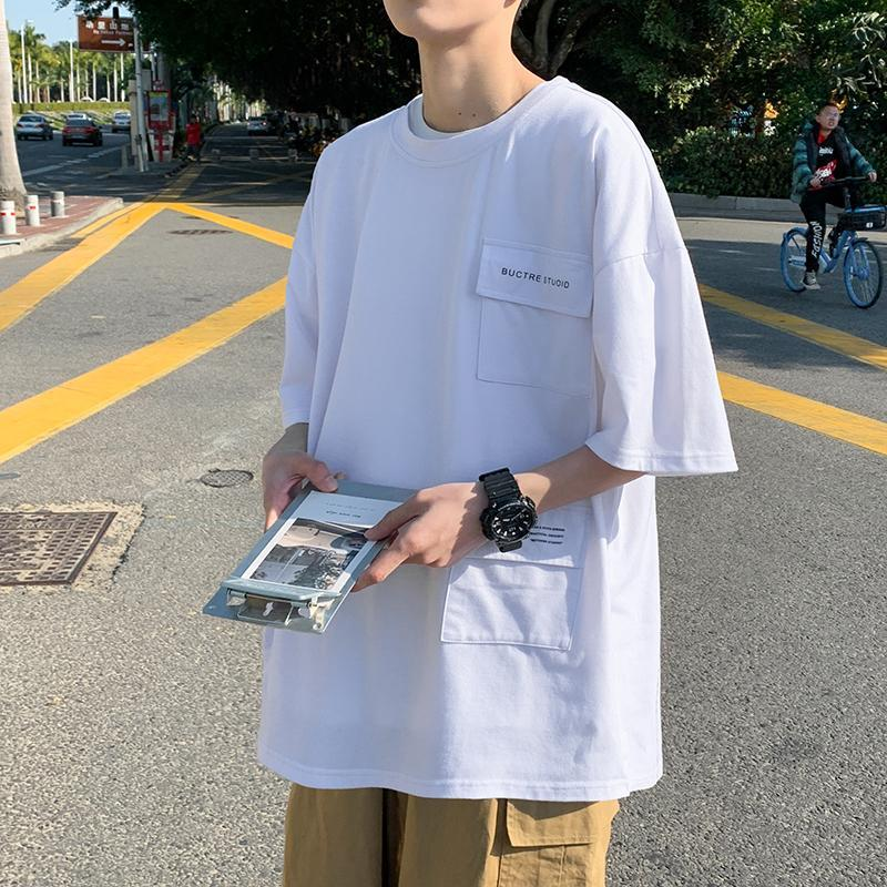 여성용 티셔츠 여름 패션 브랜드 짧은 소매 남성 한국식 느슨한 커플 라운드 넥 솔리드 컬러 캐주얼 탑
