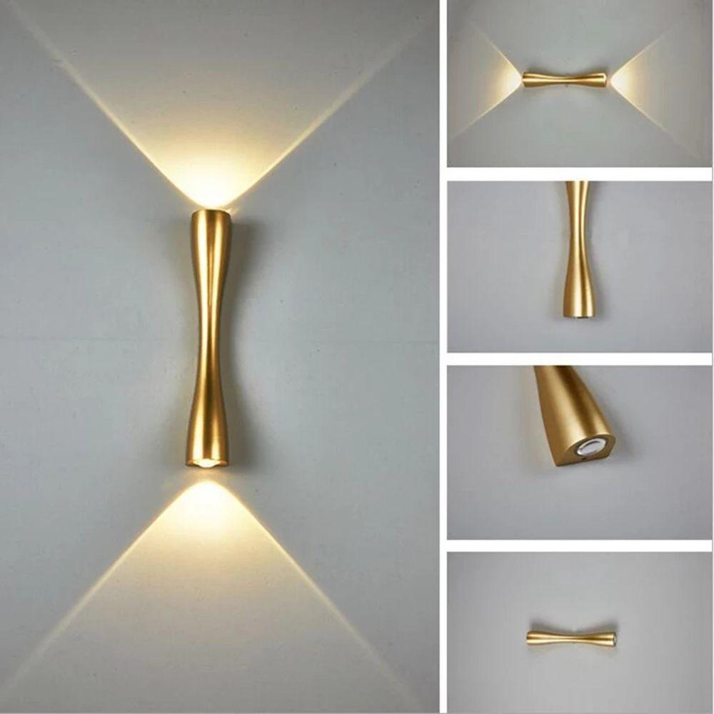 Topoch yaratıcı duvar lambası kapalı açık su geçirmez ip65 uzun boynuz yukarı ve aşağı led aplik ışık dekorasyon 24/35 cm 2x5 w 100-240 v