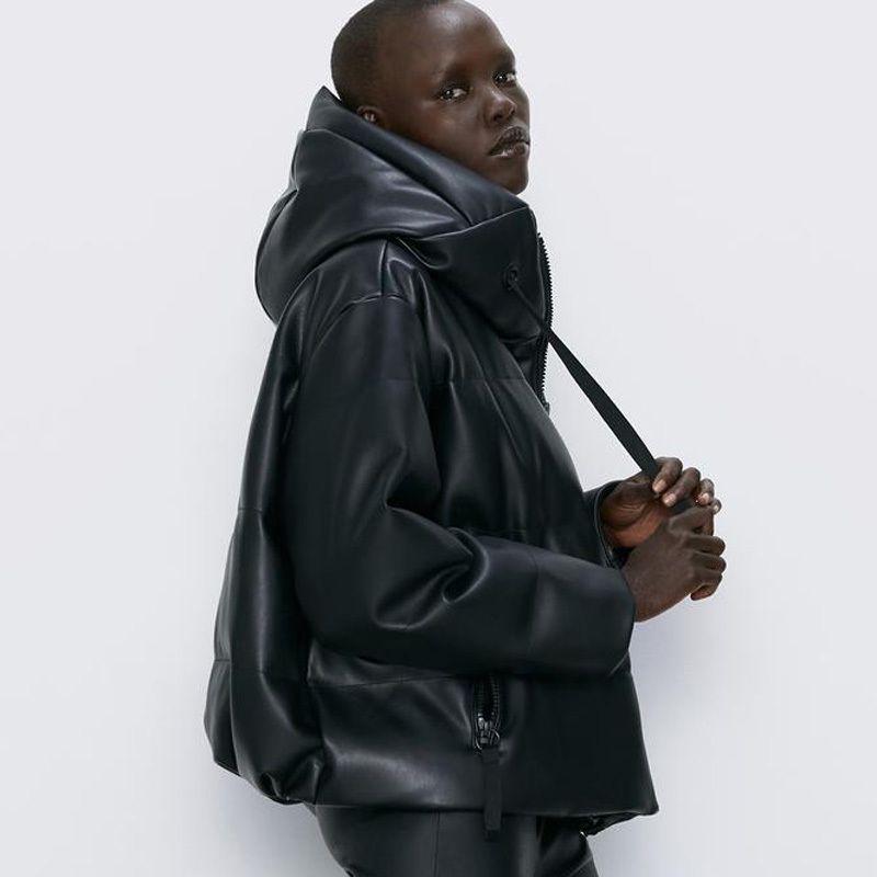Rr Parkas PU Parkas Mode Capuche Capuche Manteaux En Cuir Femmes Élégant Solide Coton Vestes Coton Femmes Mesdames