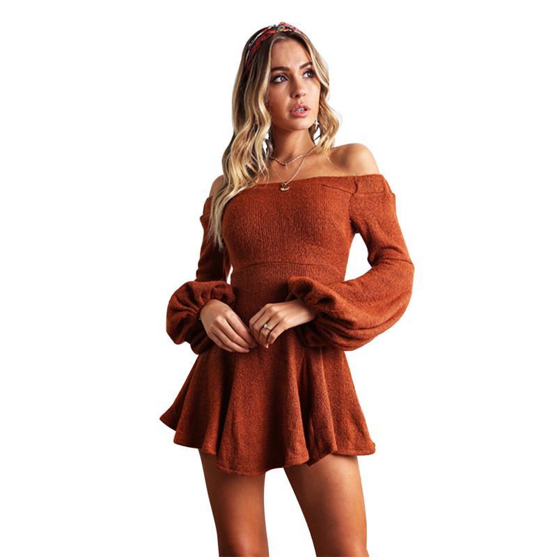 Slash Neck Womens Sweater Dress Designer Puff Sleeve Casual Warm Dress Fashion Mini A Line Ladies Dresses