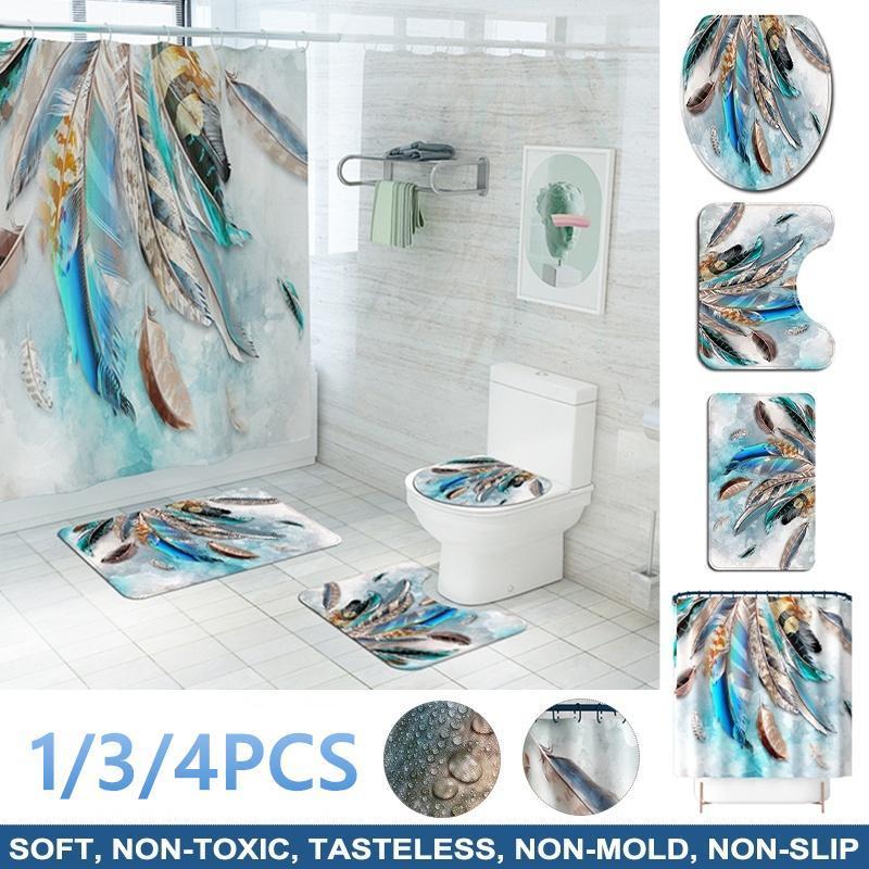 Duschvorhänge 1/3 / 4 stücke Wasserdichte Vorhang farbige Federn Badematten Set Teppiche WC-Abdeckung Badezimmer Zubehör