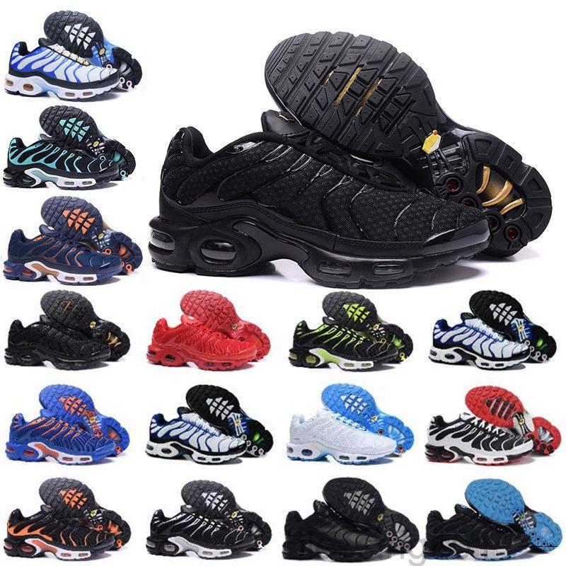 2019 nuevo diseño de calidad superior TN para hombre zapatos de malla transpirable Chaussures Homme TN Requin Noir Zapatos al aire libre Tamaño 7-12 JS-5