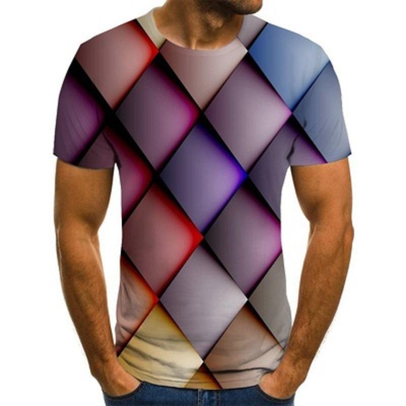 Мужская 3D цифровая печатная футболка для мужчин круглые шеи с коротким рукавом молодежь мода Trend полосатая графическая футболка хип-хоп стиль тройников