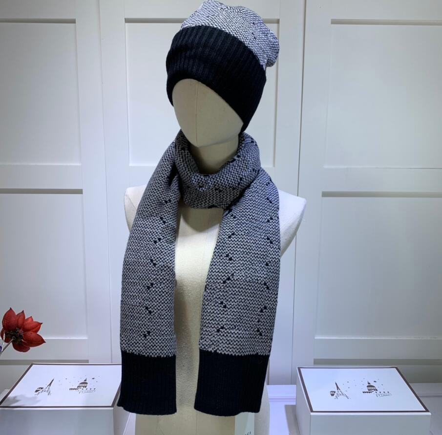 Зимние дизайнерские мужские женщины вязаные шарф и шляпы установить модные шапки шарфы для мужчин леди шансы шапки шарфы 2 шт.