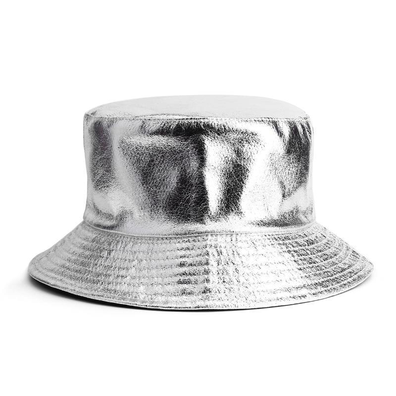 Women Solid Metallic Silver PU Bucket Hat Girls Reversible Faux Leather Cotton Fisherman Female Sun Prevent Hats Wide Brim
