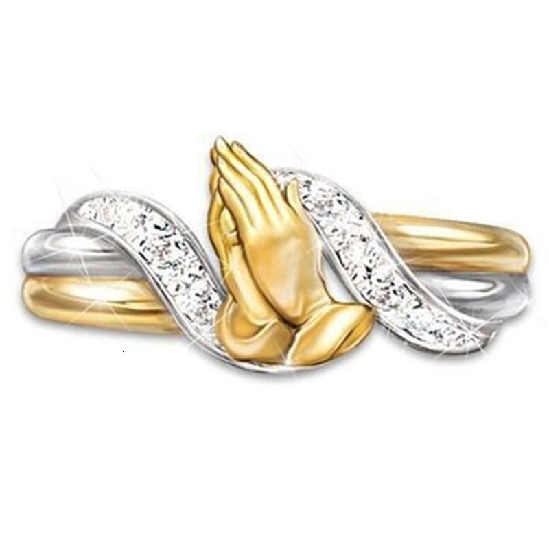 Ring Yichen 14k vergoldet Gebet Hand Zirkon Segen Freunde und Verwandte Charme Geschenk Schmuck