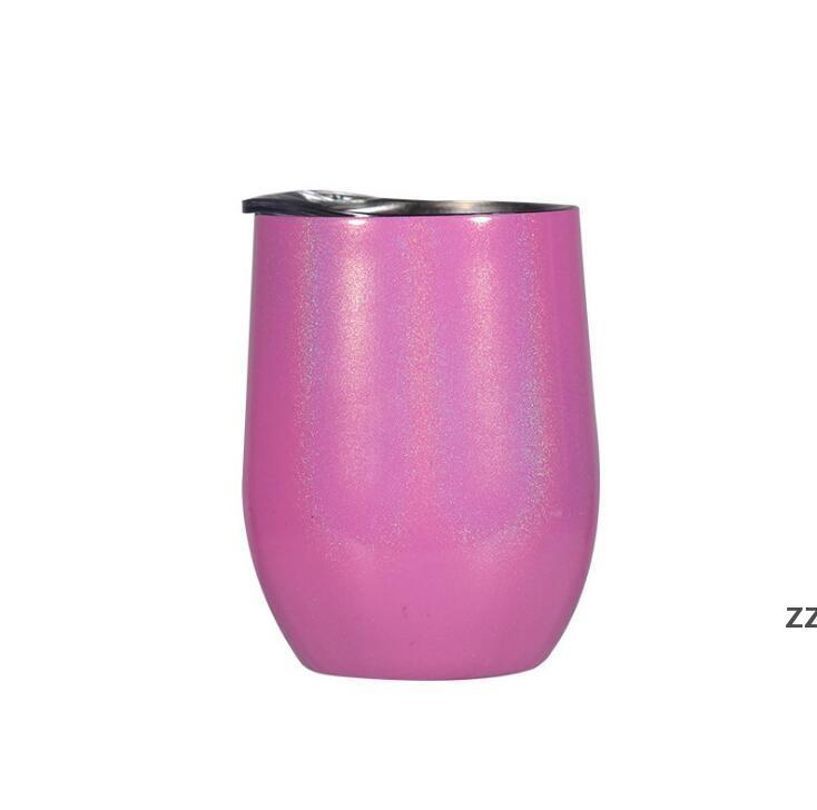 Glitter Wine Tumbler with Lids Water Botter Stainless Steel Rainbow Egg Shaped Mugs Double Layer Vacuum Mug 12oz SEA SHIPPING HWE8848
