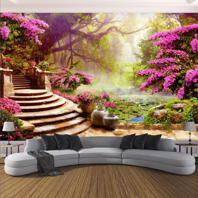 Wallpapers personalizados floresta flores paisagem po papel de parede para paredes 3d sala de estar cafe fundo decoração grande pano de parede mural