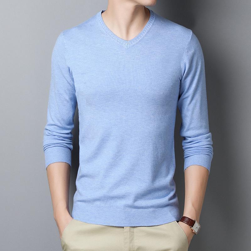 남자 스웨터 가을 스트레치 느슨한 스웨터 클래식 패션 솔리드 컬러 V 넥 긴팔 풀오버 남성 브랜드 니트 탑스