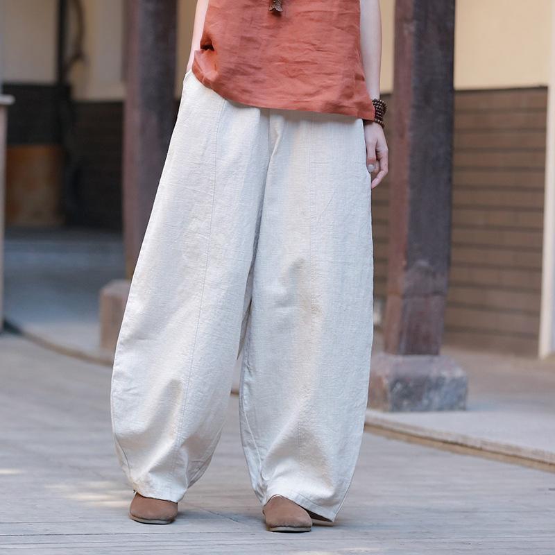 Johnature Wide Leg Calças Mulheres Algodão Linho Elástico Cintura Calças Primavera Vintage 9 Cor Casual Calças de Alta Qualidade 210521