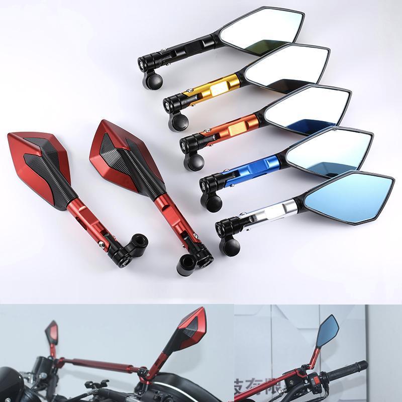 Par 10mm 8 mm CNC Universal Electric MotocicleTcycle Side Mirror Retroview Vista espejo, para bicicletas de calle Cruiser Motocicleta