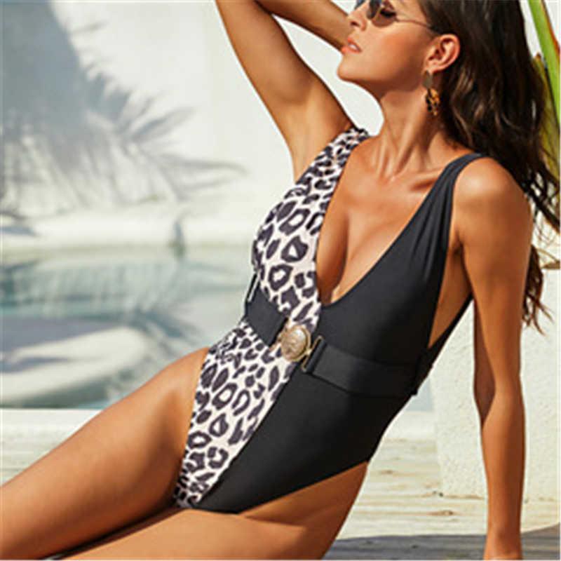 Леопард цельные костюмы купальники ремень ремень без спинки сексуальные купальники лоскутное пляжное одежда Купальники женский плавательный костюм для женщин