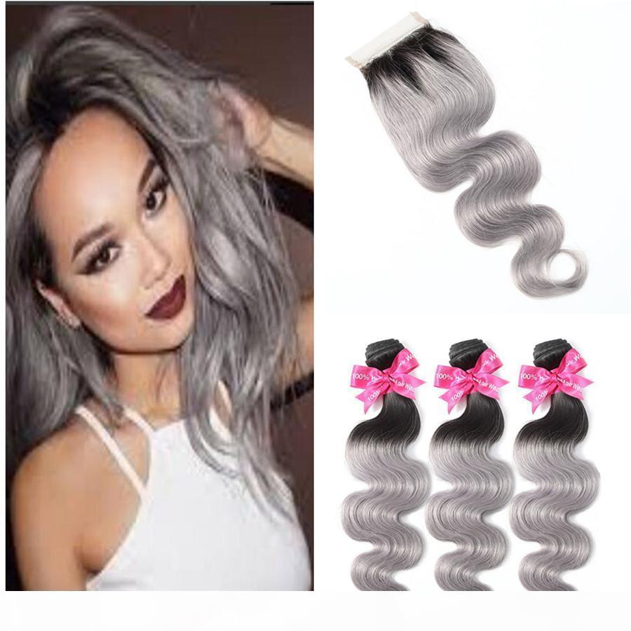 Raíz Oscura 1b Paquetes de pelo de Ombre de Ombre grises con cierre de encaje gris plateado Dos tonos Coloreado Cuerpo de onda de pelo de tejido con cierre 4pcs Lot