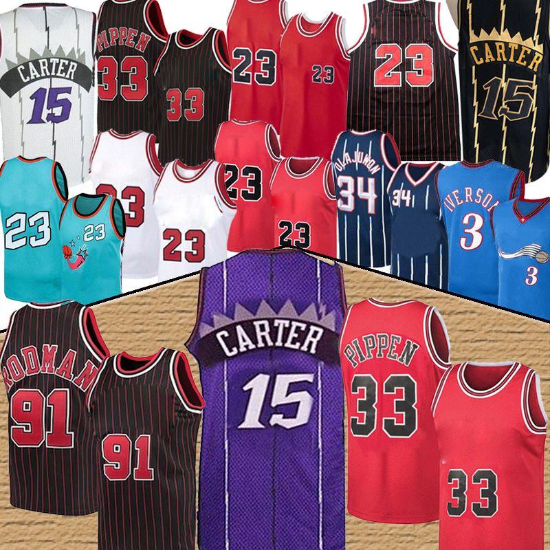 NCAA Vince 15 JA كارتر Hot 23 Michael Jersey Scottie 33 Pepipen Dennis 91 Rodman Allen 3 IVERSON HEYMEEM 34 Olajuwon North Carolina College Wallball Jumsys