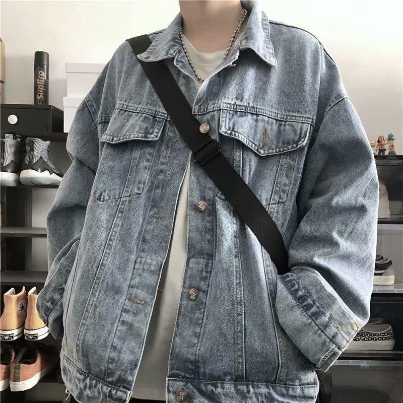 Jaquetas masculinas moda 2021 jaqueta jeans homens mulheres primavera e outono ferramental coreano solto bf vento selvagem casual de mangas longas casuais