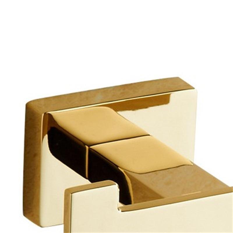 Gancho de toalha de ouro cobre casaco duplo gancho liga de zinco ouro acabamento de parede toalha toalha de banheiro roupão para acessórios oki yas 378 r2