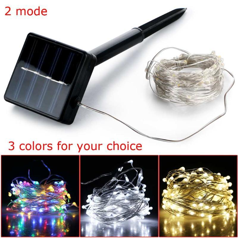 Outdoor Waterproof 100 LED 10m Solar Power String Light Copper Wire Fairy Starry Lamp For Home Garden Decoration Strips
