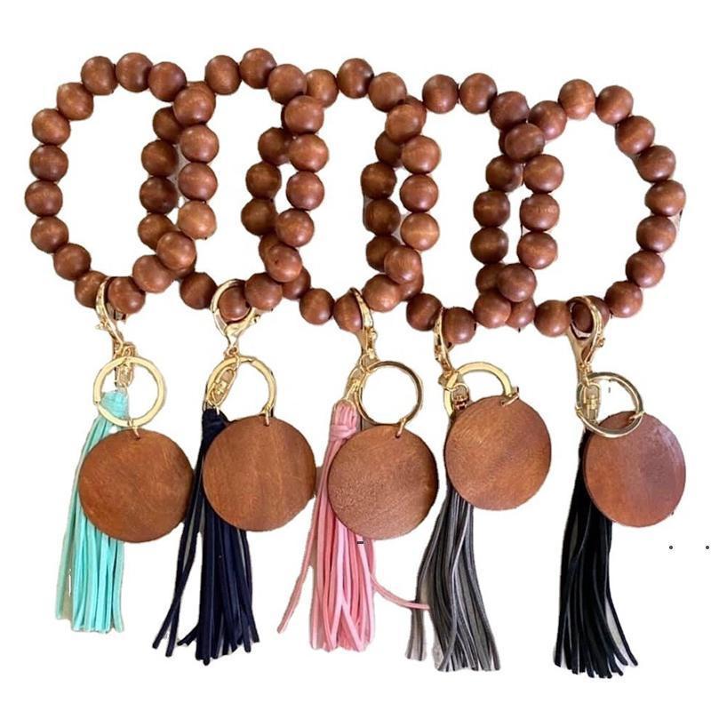 Nova bracelete de borla chaveiro Moda frisada chaveiros DIY chip de madeira chaveiro pingente de presente criativo suprimentos chaveiros EWA5764