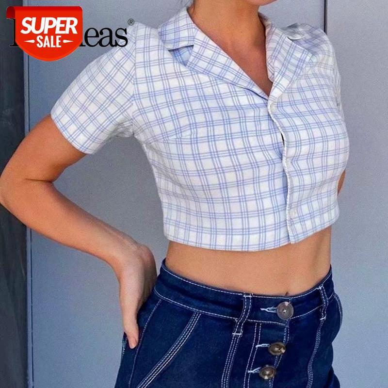 Luz azul Tartan Cropped Blusa Fitted Harajuku Ropa Mujer Streetwear Blusa Moda Fashion Center Botões Crop Top # ND37