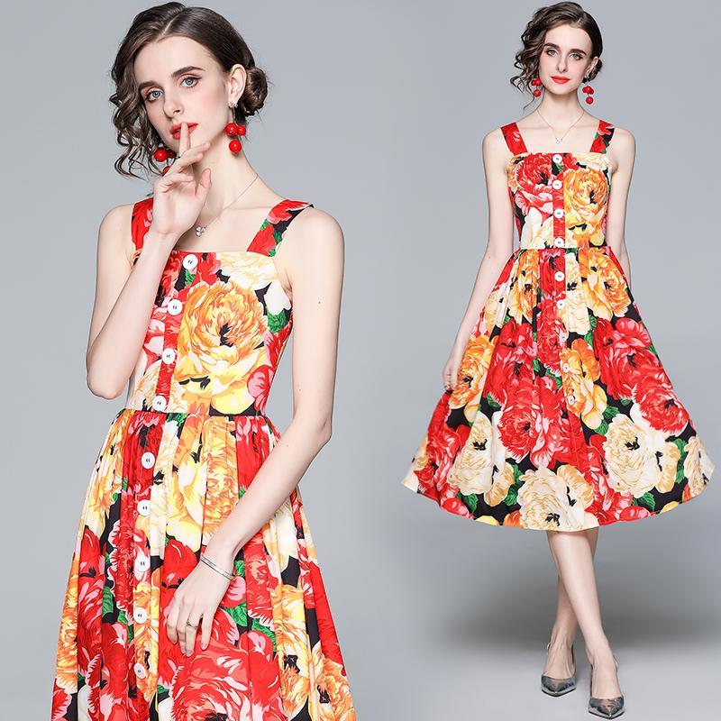Vestido de eslinga sexy noble para mujeres Vestido midi floral de verano vestido de fiesta vestido de fiesta vestido de fiesta