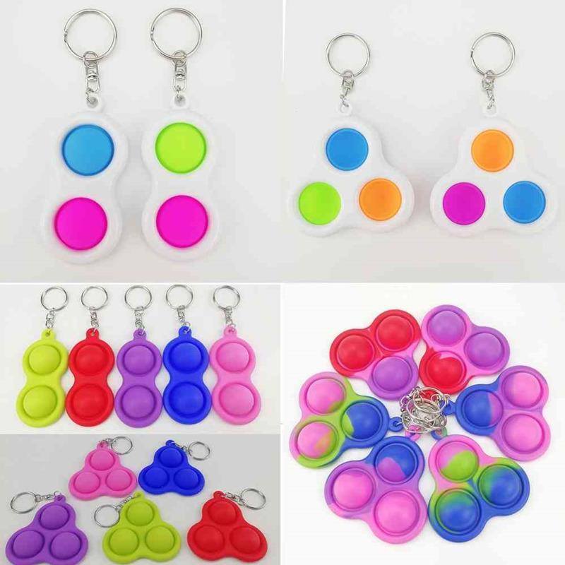 손가락 푸시 버블 키 체인 키즈 소설 Fidget Keychains 간단한 장난감 키 홀더 링 가방 펜던트 감압 장난감 H32531i