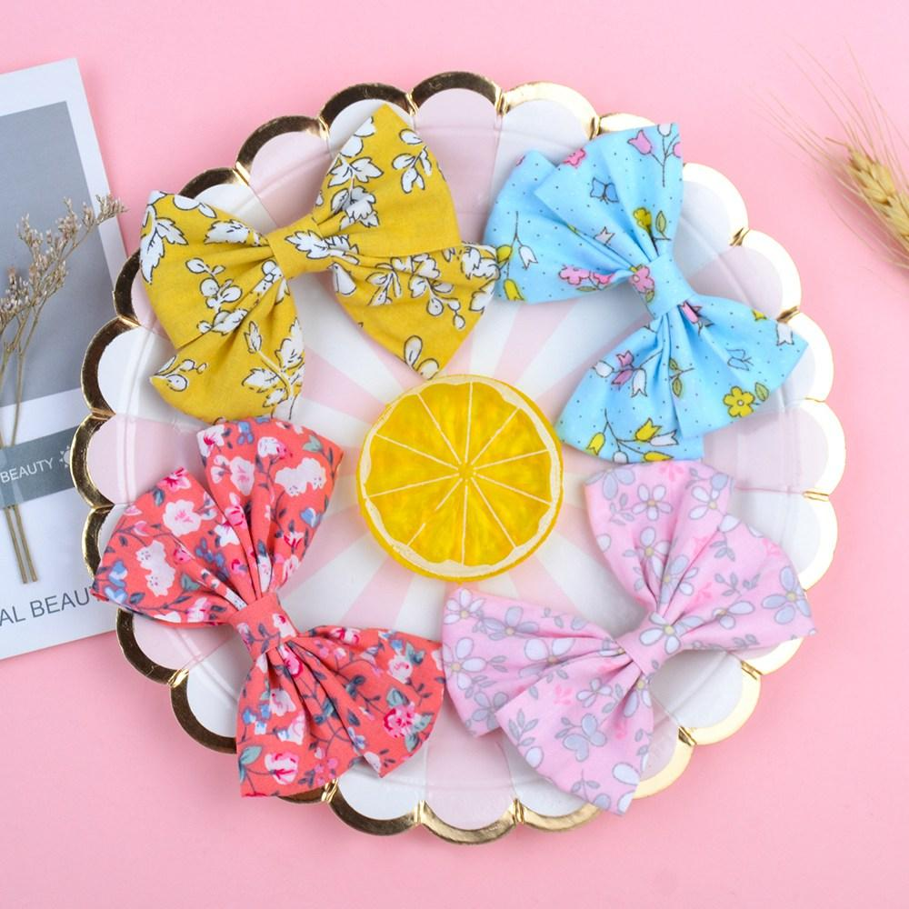2pcs/ lot Bow BB Hair Clips Headdress Flower Print Style for Baby Girls Kids Cute Cotton Headwear Hair Accessories