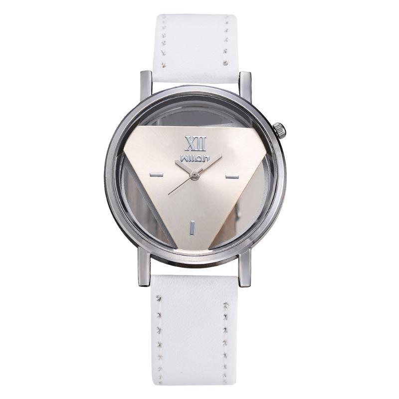 Wristwatches Luxury Fashion Ladies Design Watches Elegant Hollow Triangle Watch Women Thin Leather Band Quartz