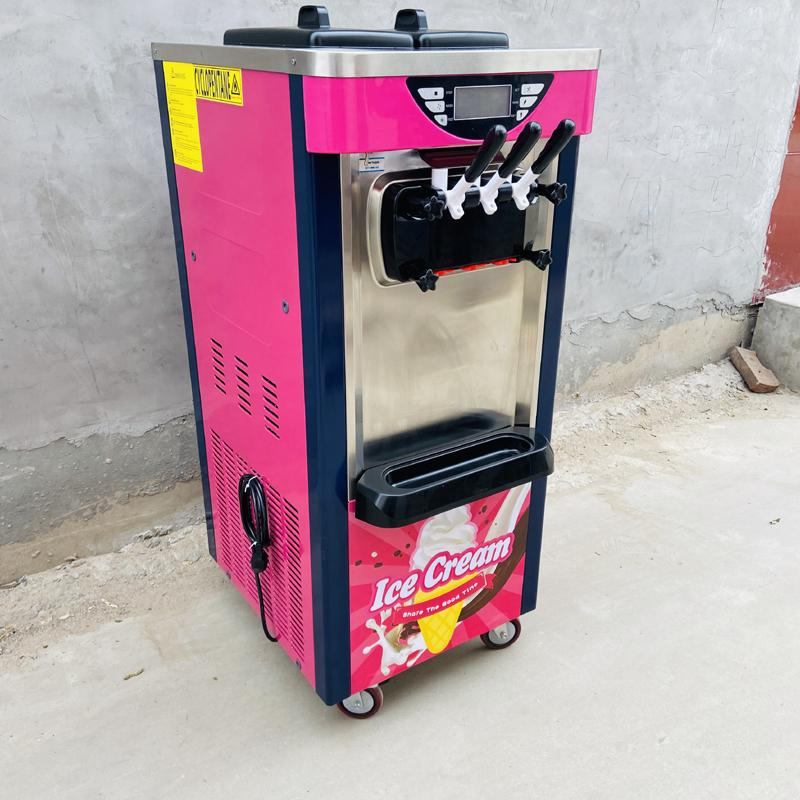 2+1 mixed flavor vertical soft ice cream machine is made of stainless steel and has a longer service life