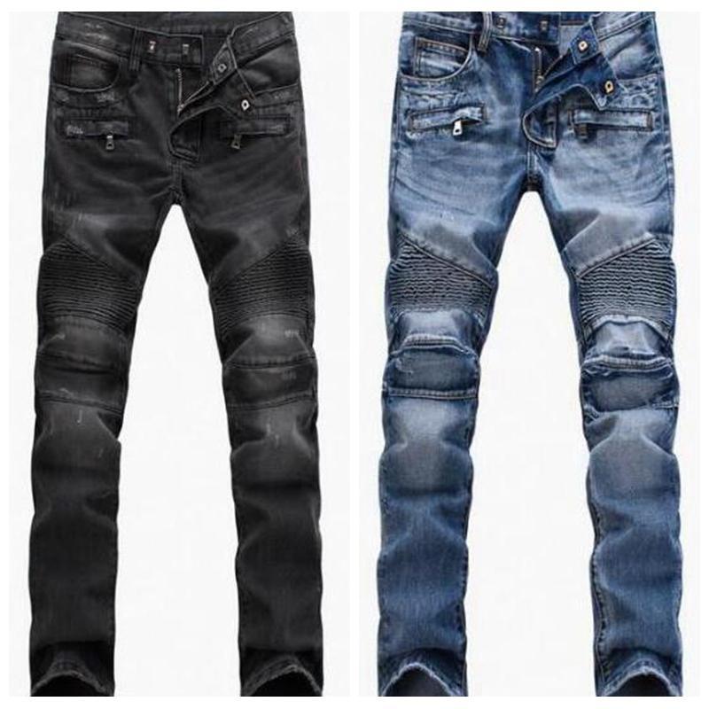 Homme en détresse déchiré skinny jeans mode hommes slim moto moo moo moo causal denim hip hop hommes pantalons