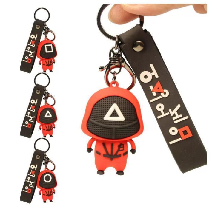 새로운! 코스트 테두리 오징어 게임 호의 인형 키 반지 펜던트 핫 스폿 마스크 된 게임 귀여운 Fidget 장난감 멋진 키 체인 DHL BO25