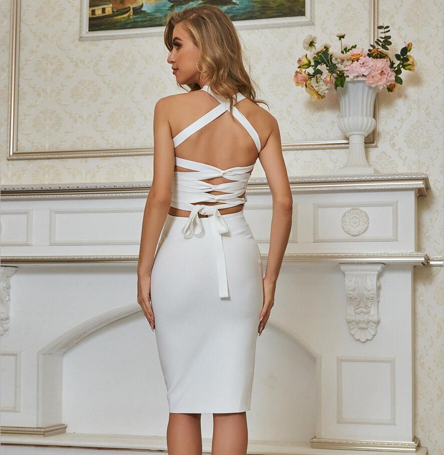 Vestidos Mujeres de verano Moda Sexy Sin mangas Sin espalda Blanco Bodycon Vendaje Diseñador Elegante Partido de la tarde Vestido