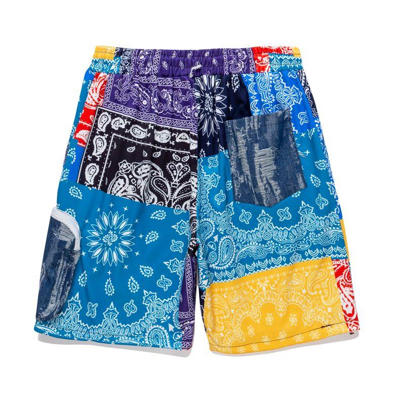 2021 verão primavera colorido algodão shorts calças calças furos bandanna paisley sweatpants homens mulheres juventude corredores
