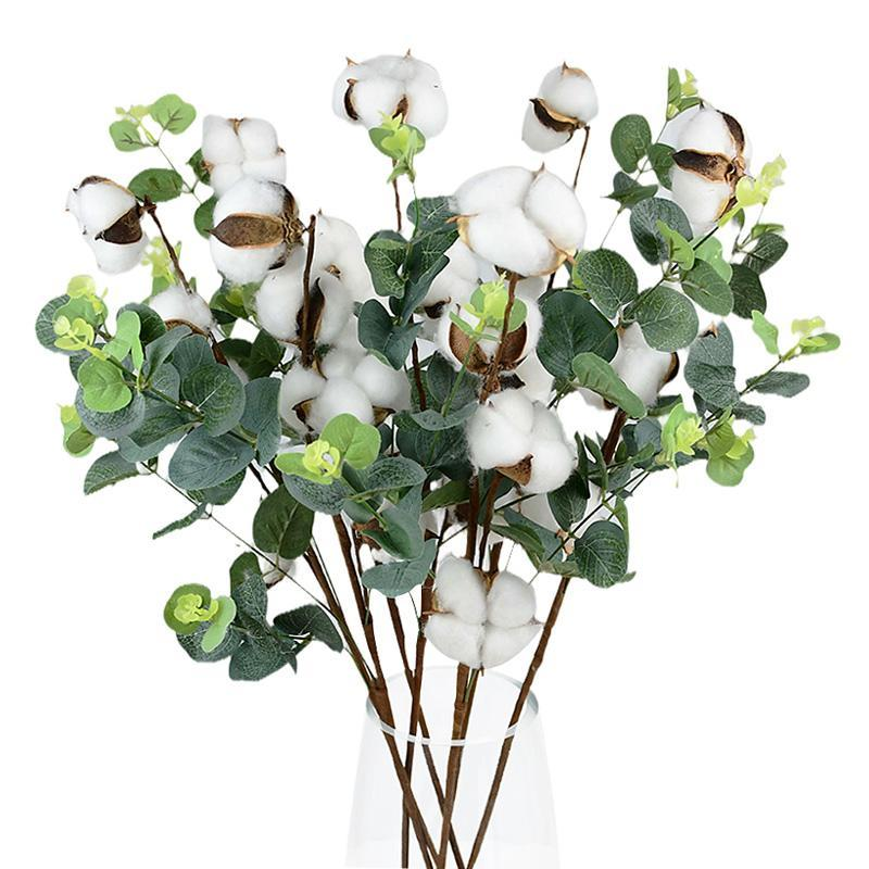 Decorative Flowers & Wreaths Naturally Dried Cotton Flower Artificial Plants Floral Branch For Wedding Party Home Garden Decoration Fake DIY